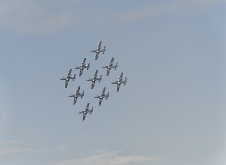 airshow: The Italian aerobatic patrol in action at Air-Show