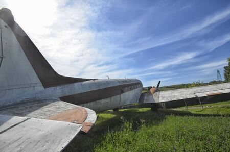 monoplane: View of old DC-3 in a aircraft boneyard