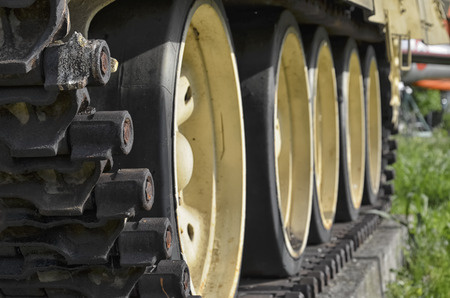 tread: Detail of the tank tread of the T-55