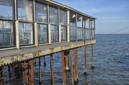 pile dwelling: View of palafitte on the Mediterranean Sea Stock Photo