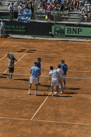 Pesaro, Italy - July 16, 2016: Juan Martin Del Potro, Guido Pella, fabio Fognini and Paolo Lorenzi before the double tennis match
