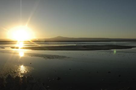 penumbra: Sunset over the famous Salar de Atacama Stock Photo