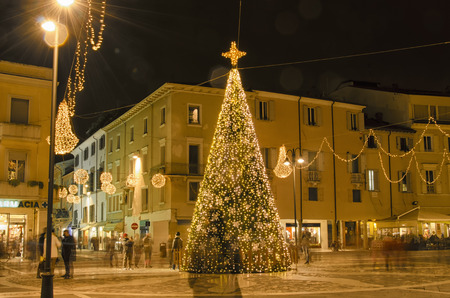 martiri: Christmas ornaments in the old town of Rimini Stock Photo