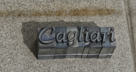 Logotype of Cagliari formed by cast type pieces Stock Photo