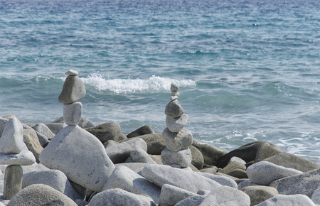 Amazing statues made from stones in perfect balance Stock Photo