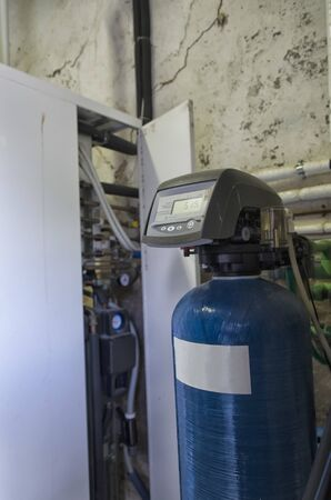 View of a condensing boiler and softener