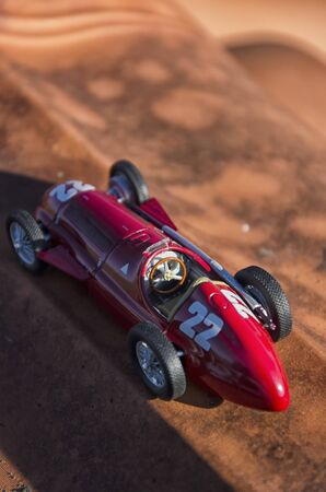 View of racing car of the Fangio era
