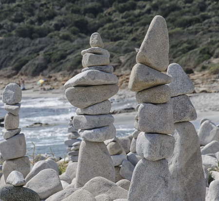 precarious: View of stones artworks in precarious balance Stock Photo