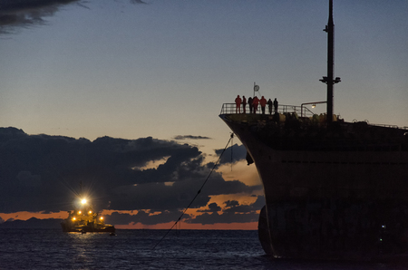ship wreck: The rescue operations of a stranded cargo ship