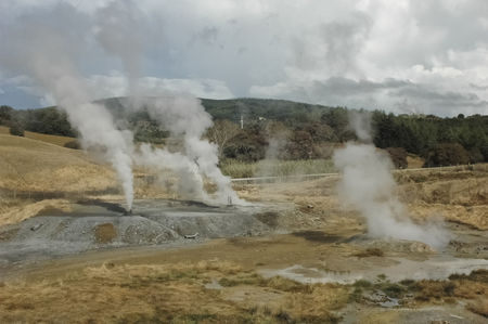 View of the sulfur vapor of geothermal energy Reklamní fotografie - 78335736