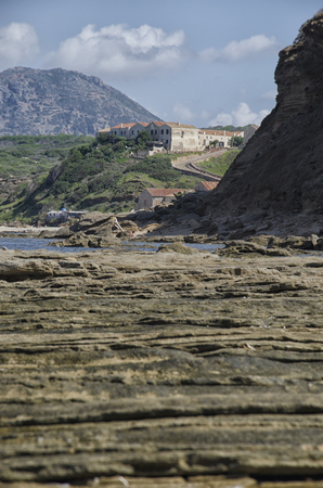 View of geological layers on the Italian coast Stock Photo