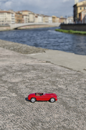 formula one: View of luxury car with river on the background