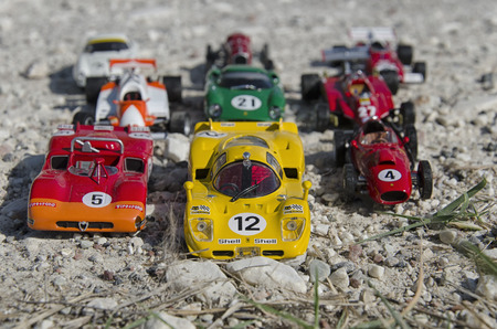 Pisa, Italy - September 05, 2015: View of stylish formula cars at the sun Editorial
