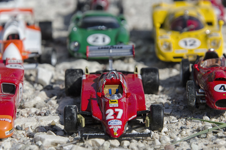 Pisa, Italy - September 05, 2015: View of beautiful race cars at the sun