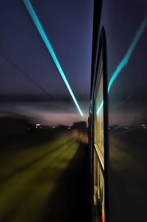 View of the lights from a train at full speed