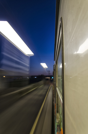 View of lights from a train at full speed