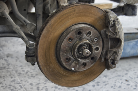 Close-up of the braking system of a car