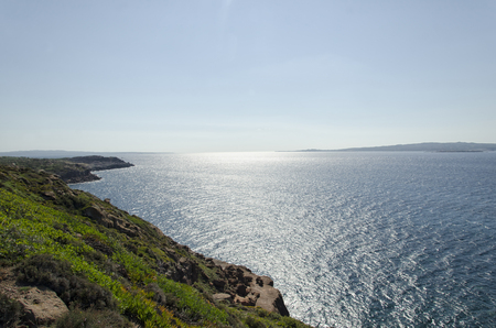 View of the beautiful Sardinian coastline in summertime Stock Photo