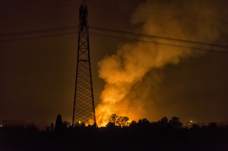 View of a blaze in the night in Italy
