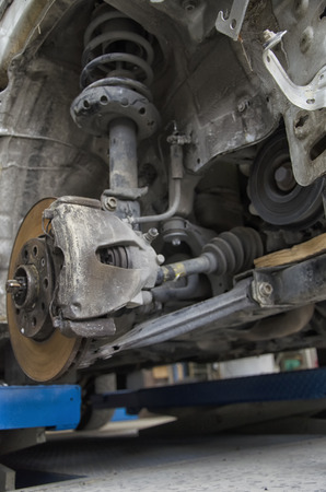 View of the braking system of a car Stock Photo