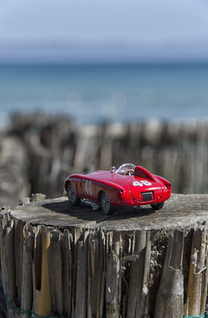 View of a model of a racing car Stock Photo