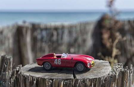 View of a scale model of a sport car