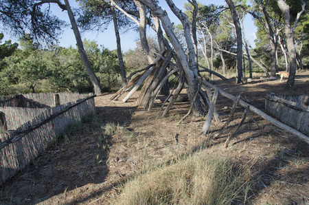 View of an improvised shelter of a castaway