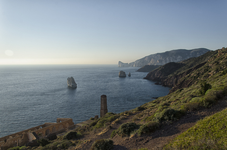 View of the Sardinian coast near Nebida