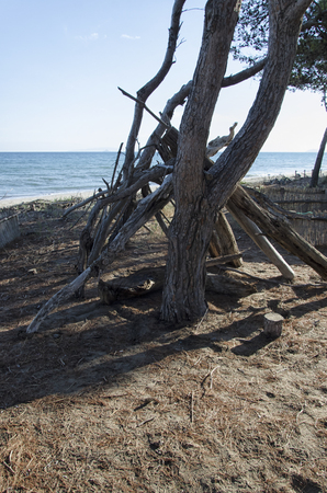 castaway: View of a shelter of a castaway Stock Photo