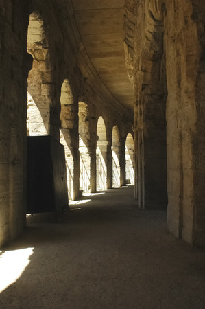 View of the arches of the Arles Coliseum Stock Photo