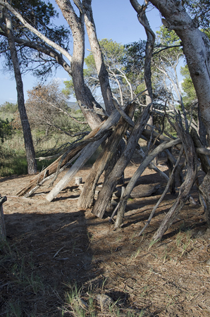 View of an improvised refuge of a castaway