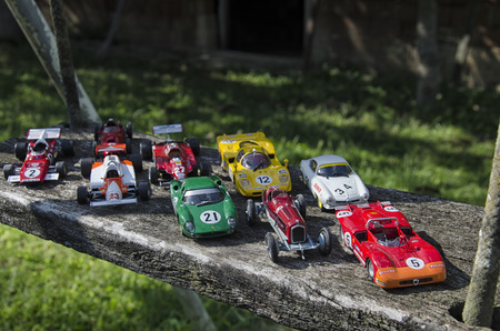 Pisa, Italy - September 05, 2015: View of collection of famous Italian cars Editorial