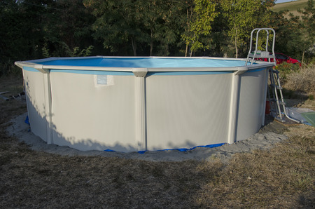 View of a metal steel frame swimming pool