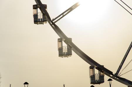 View of the gondolas of a big wheel Stock Photo