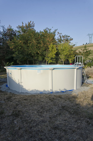 View of a metal steel frame pool just mounted