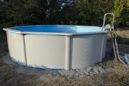 View of a metal steel frame pool