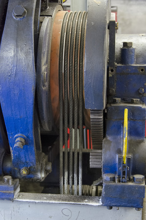 View of steel cables of a elevator motor Stock Photo
