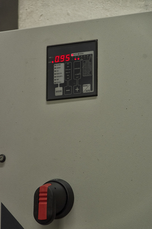 View of the display of a reactive power regulator Stok Fotoğraf