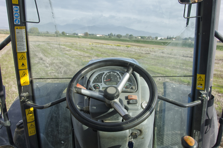 Point of view from a tractors cockpit