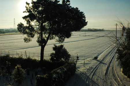 View of the countryside after a snowfall