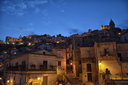 Night view of the hamlet of Ragusa Ibla Stock Photo