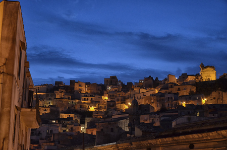 Night view of the town of Ragusa Ibla