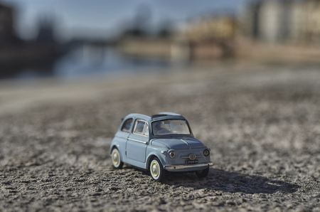 View of a scale model of the famous Fiat 500