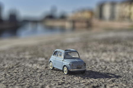 View of a scale model of the classic Fiat 500