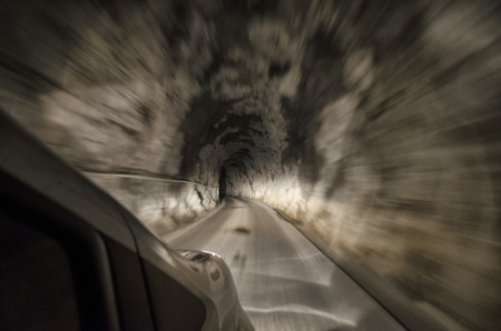 View of a tunnel from inside the car Stock Photo