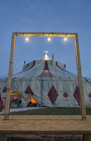 View of circus tent framed in a frame