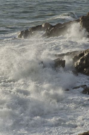 View of the waves on the Livorno coast Stock Photo