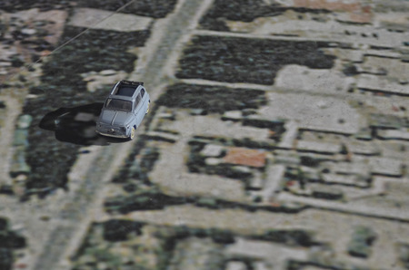 View of a famous city car on a big map