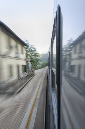View of a train at full speed