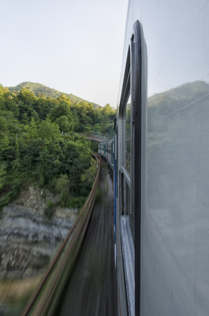 View of a train through a beautiful landscape